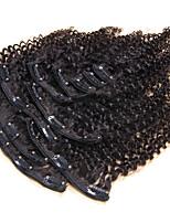 100% cabelo humano clipe natural em extensões de cabelo humano excêntricas culry grampo de cabelo brasileira em 10pcs de extensão / 120g