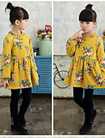 Girl's Casual/Daily Floral Print Dress,Cotton Winter Fall Half Sleeve