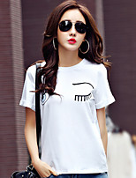 Women's Casual/Daily Simple Summer T-shirt,Solid Round Neck Short Sleeve Cotton Medium