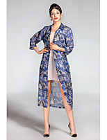 PROVERB Women's Going out Beach Street chic Tunic Dress,Animal Print Shirt Collar Midi ¾ Sleeve Silk Spring Summer Mid Rise Micro-elastic Thin