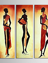IARTS Africa Women Wall Art 3 Pieces Group Painting Handmade Canvas Art for Home Decor