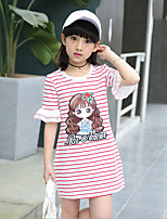 Casual/Daily Striped Tee,Cotton Rayon Summer Short Sleeve
