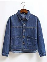 Для женщин На выход На каждый день осень Джинсовая куртка Воротник шалевого типа,просто Однотонный Короткие Длинный рукав,Хлопок