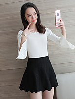 Women's Going out Work Simple Regular Pullover,Solid Round Neck Long Sleeve Cotton Spring Summer Thin Micro-elastic