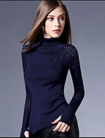 Women's Formal Cute Regular Pullover,Solid Round Neck Long Sleeve Cotton Spring Thin Micro-elastic