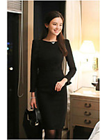 Women's Going out Simple Bodycon Dress,Solid Round Neck Midi ¾ Sleeve Cotton Spring Mid Rise Micro-elastic Medium