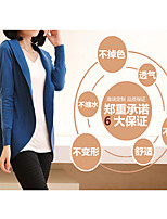 Women's Going out Work Long Cardigan,Solid V Neck Long Sleeve Cotton All Seasons Medium Micro-elastic