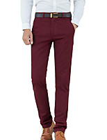 Men's Straight Slim Chinos PantsCasual/Daily Simple Solid Mid Rise Button Cotton Spandex Micro-elastic All Seasons HY-006