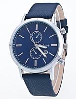 Men's Leisure Business Multi-Functional Waterproof Leather Noctilucent Single Calendar Geneva Quartz Watch