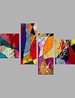 Ручная роспись Абстракция Животное Горизонтальная,Modern 4 панели Холст Hang-роспись маслом For Украшение дома