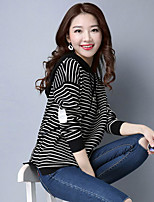 Women's Going out Casual/Daily Simple Regular Pullover,Solid Striped Round Neck Long Sleeve Rayon Polyester Spring Fall Medium