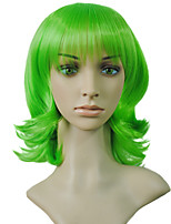 Top Quality Short Synthetic Hair Cosplay Anime Green Color BOB Curly Wig