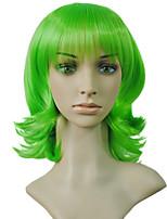 Qualidade superior curto sintético cabelo cosplay anime verde cor bob curly peruca