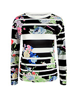 Women's Going out Casual/Daily Vintage Sophisticated T-shirt,Print Round Neck Long Sleeve Cotton Rayon
