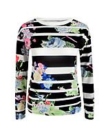 Damen Druck Retro Anspruchsvoll Ausgehen Lässig/Alltäglich T-shirt,Rundhalsausschnitt Langarm Baumwolle Kunstseide