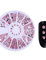 1 Box Pink Flat Bottom Nail Rhinestones Star Heart Teardrop Bowknot Flower Acrylic 3D Nail Art Decorations Nail Accessories