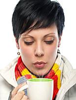 Refrescante preto natural cabelo curto peruca de cabelo humano para as mulheres
