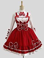 Einteilig/Kleid Bluse / Hemd Rokoko Cosplay Lolita Kleider einfarbig Langarm Knielänge Hemd Kleid Für Baumwolle