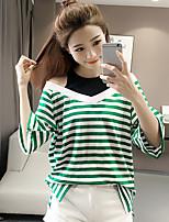 Damen Gestreift Einfach Niedlich Aktiv Ausgehen Lässig/Alltäglich Arbeit T-shirt,Rundhalsausschnitt Sommer ¾-Arm Baumwolle Mittel