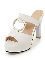 Slippers & Flip-Flops Spring Summer Fall Slingback PU Dress Casual Chunky Heel Rhinestone Black Blue Pink White Beige