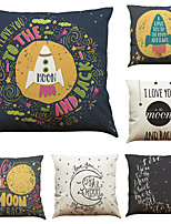 Set of 6 English Classical Sentences  Pattern  Linen Pillowcase Sofa Home Decor Cushion Cover (18*18inch)