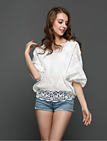 The new hollow jacquard lace shirt lace blouse bat sleeve Beach