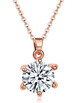 Women's Pendant Necklaces AAA Cubic Zirconia Copper Rhinestone Geometric Fashion Jewelry Party Birthday Daily Casual Christmas Gifts 1pc