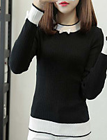 Women's Going out Cute Regular Pullover,Color Block Round Neck Long Sleeve Rayon Fall Medium Stretchy