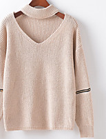 Women's Casual/Daily Simple Regular Pullover,Solid Color Block V Neck Long Sleeve Cotton Spring Fall Medium Micro-elastic