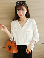 Women's Casual/Daily Simple Blouse,Solid V Neck ¾ Sleeve Polyester Thin