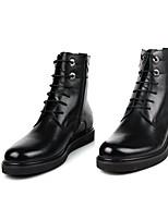 Черный-Для мужчин-Повседневный-Резина-На низком каблуке-С Т-образной перепонкой-Ботинки