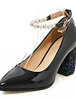 Women's Heels Spring Fall Comfort Leatherette Dress Casual Party & Evening Chunky Heel Block Heel Imitation Pearl Buckle