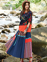 Real shot female retro national wind printing stitching skirt suit shirt + striped skirts stitching two-piece