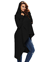 Women's Casual/Daily Holiday Simple Active Fall T-shirt,Solid Hooded Long Sleeve Polyester Spandex
