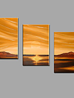 Hand-Painted Seascape Sunrise Oil Painting For Home Office Decoration with Stretched Framed