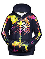 Men's Casual/Daily Hoodie Print Round Neck Micro-elastic Polyester Long Sleeve Fall