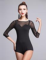 Latin Dance Tops Women's Performance Milk Fiber Splicing 1 Pieces 3/4 Length Sleeve Natural Top
