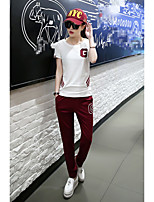 Women's Going out Casual/Daily Sports Simple Active Spring T-shirt Pant Suits,Solid Round Neck Short Sleeve Cotton Micro-elastic