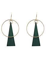 Brincos Compridos Original Moda Euramerican Madeira Liga Formato Circular Forma Geométrica Triangular Verde Jóias ParaCasamento Festa