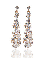 2017 High Quality Fashion Temperament Elegant Pearl Rhinestone Earrings For Women Long Tassel Drop Earrings Bride Wedding Accessories