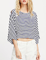 Women's Casual/Daily Simple Spring Fall T-shirt,Striped Round Neck Long Sleeve Cotton Medium