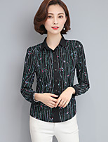 Women's Casual/Daily Simple Blouse,Floral Shirt Collar Long Sleeve Polyester Thin