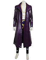 2016 New Men's  Cosplay Costume Outfit Halloween Costumes for Men Leather Coat Clown Role Playing Dress PurpleCoat