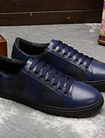 Men's Sneakers Spring Fall Comfort Cowhide Casual Flat Heel Blue Black