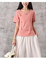 Signo 2017 verano nuevo gran tamaño de algodón de color sólido de manga corta camisa camiseta retro viento nacional