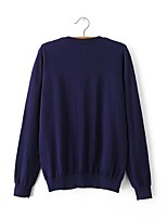 Women's Going out Regular Cardigan,Solid Round Neck Long Sleeve Cotton Spring Fall Medium Micro-elastic