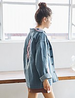 Для женщин На выход Весна Джинсовая куртка Воротник Питер Пен,Очаровательный Контрастных цветов Обычная Длинный рукав,Хлопок,С кисточками