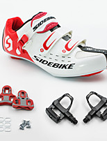 01 Cycling Shoes Unisex Outdoor / Road Bike Sneakers Damping / Cushioning White / Red-sidebike And Black Rock Pedals