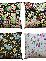 Set of 4 Creative Flower  Pattern Pattern  Linen Pillowcase Sofa Home Decor Cushion Cover
