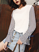 Model real shot in spring 2017 new Korean striped cotton stitching bow horn sleeve loose shirt